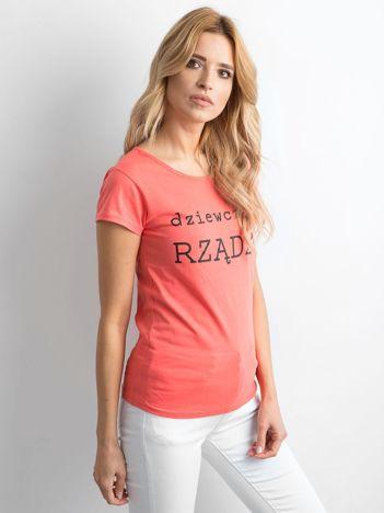 Pomarańczowy t-shirt damski z napisem