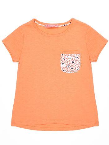 Pomarańczowy t-shirt dla dziewczynki z kieszonką