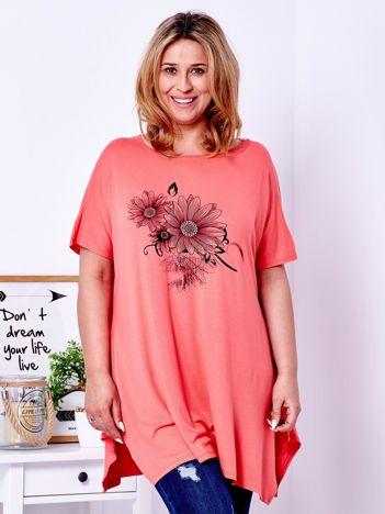 Pomarańczowy t-shirt z kwiatowym printem PLUS SIZE