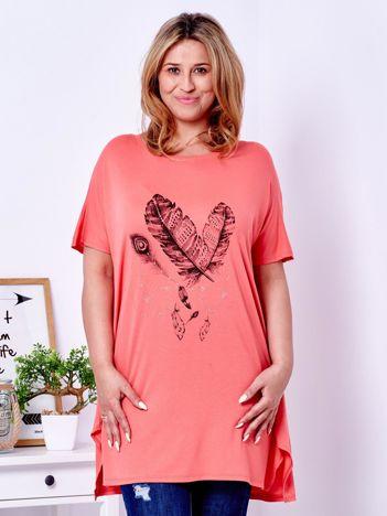 Pomarańczowy t-shirt z nadrukiem piór PLUS SIZE