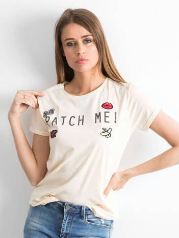 Pomarańczowy t-shirt z napisem PATCH ME