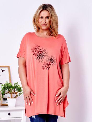 Pomarańczowy t-shirt  z roślinnym printem PLUS SIZE