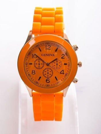 Pomarańczowy zegarek damski z silikonowym paskiem