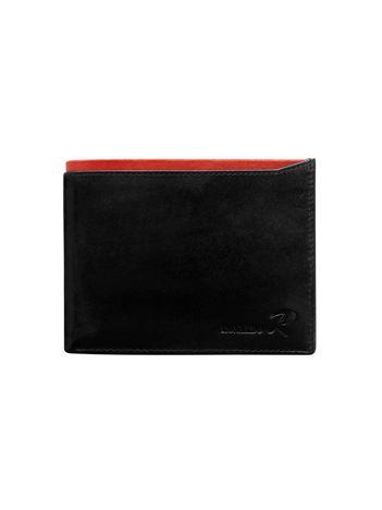 Poziomy portfel męski z czerwonym modułem