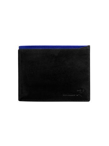 Poziomy portfel męski z niebieskim modułem