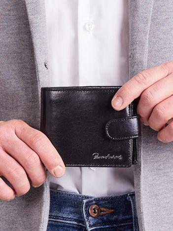 Poziomy portfel męski ze skóry czarny