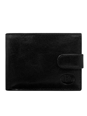 Poziomy skórzany portfel męski czarny