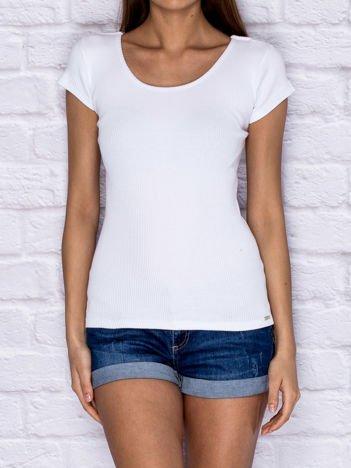 Prążkowany t-shirt lace up ecru