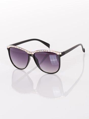 Przepiękne stylowe czarne okulary okulary przeciwsłoneczne z panterką na górze soczewki