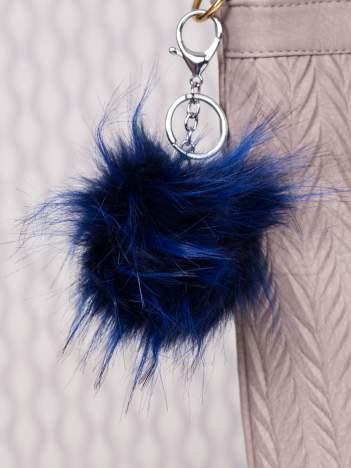 Puchaty brelok do kluczy,zawieszka do torebki habrowy + czerń (podwójne zapięcie kółko+ karabińczyk)