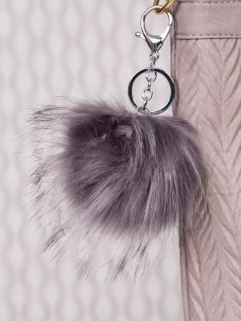 Puchaty brelok do kluczy,zawieszka do torebki mysi szary + czerń (podwójne zapięcie kółko+ karabińczyk)