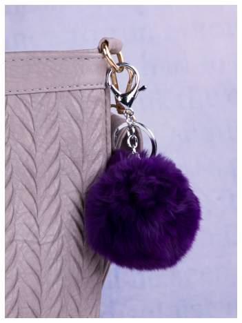 Puchaty brelok do kluczy,zawieszka do torebki pompon (podwójne zapięcie kółko+ karabińczyk)