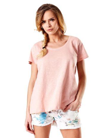 Pudroworóżowy t-shirt damski basic