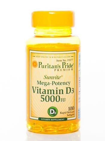 Puritans Pride - Witamina D3 5000 IU - 100 kapsułek
