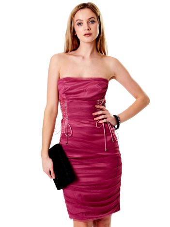 Purpurowa sznurowana sukienka