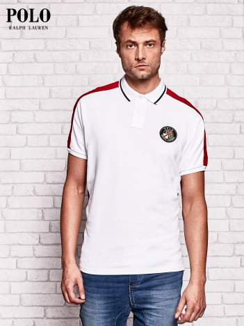 RALPH LAUREN Biała koszulka polo męska z naszywką