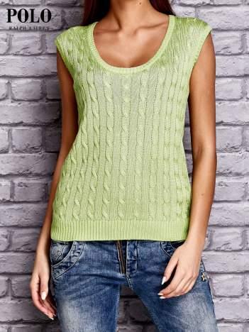 RALPH LAUREN Limonkowy sweter z warkoczowym splotem