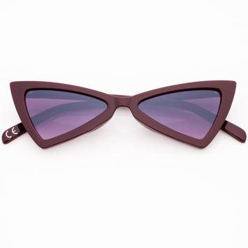 RETRO CAT EYE Bordowe damskie okulary przeciwsłoneczne KOCIE OCZY