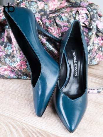 ROCCOBAROCCO niebieskie skórzane szpilki grain leather w szpic