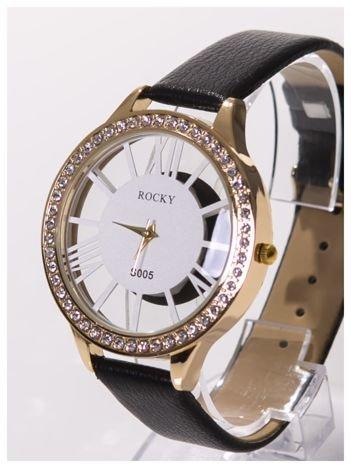ROCKY -Damski zegarek RETRO z cyrkoniami i przeźroczystą tarczą .