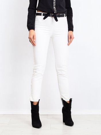 RUE PARIS Białe spodnie Pearl