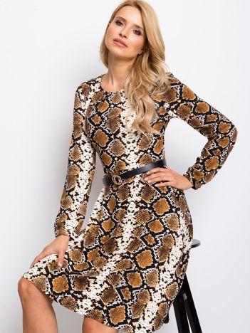 RUE PARIS Brązowa sukienka Bossing