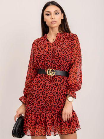 RUE PARIS Czerwono-czarna sukienka Panama