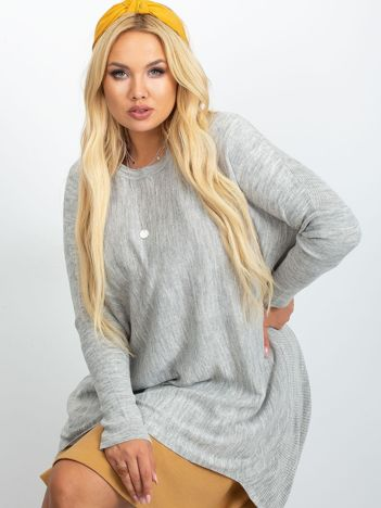 RUE PARIS Jasnoszary sweter plus size Ester