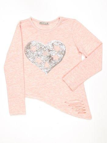 Różowa asymetryczna bluzka dziewczęca z cekinowym sercem