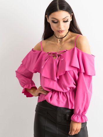 Różowa bluzka damska z falbaną