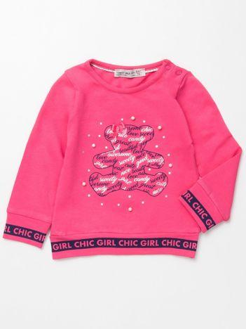Różowa bluzka dla dziewczynki z perełkami