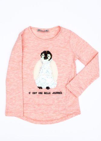 Różowa bluzka dla dziewczynki z pingwinem