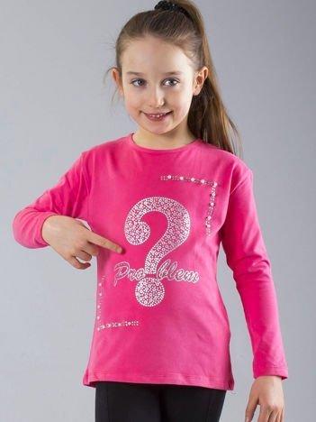 Różowa bluzka dziewczęca z aplikacją i perełkami