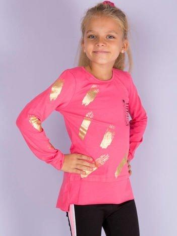 Różowa bluzka dziewczęca z kieszonką cut out