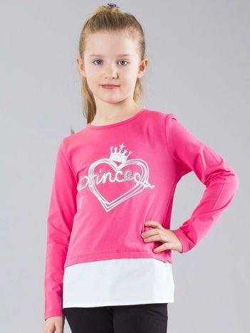 Różowa bluzka dziewczęca z napisem i aplikacją
