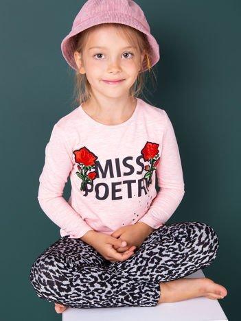 Różowa bluzka dziewczęca z napisem i naszywkami róż