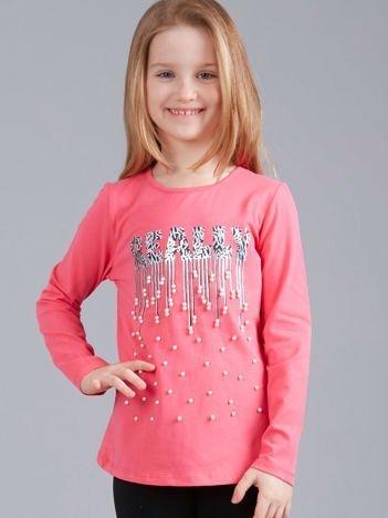 Różowa bluzka dziewczęca z napisem i perełkami