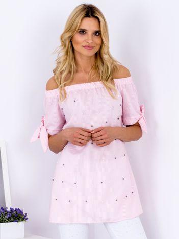 Różowa bluzka hiszpanka w paski z perełkami