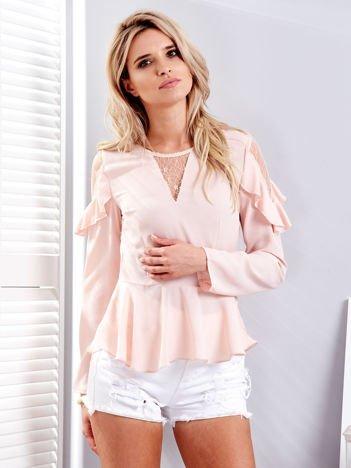 Różowa bluzka z siateczkowymi wstawkami