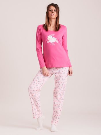 Różowa dwuczęściowa piżama z nadrukiem