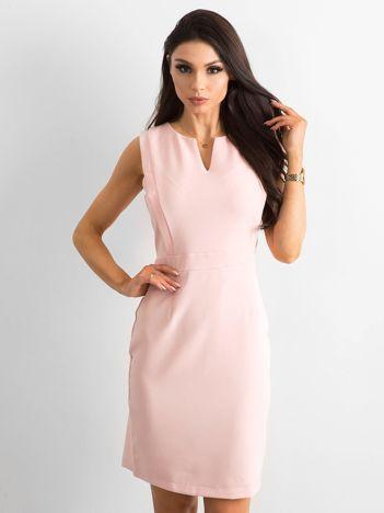 de5227eb2b6c Różowa gładka sukienka koktajlowa