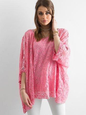 Różowa koronkowa tunika