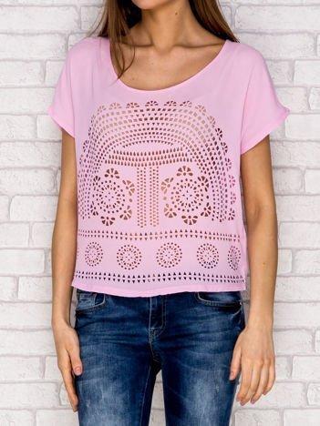 Różowa koszula mgiełka ażurowa