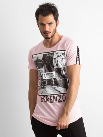 Różowa koszulka męska z nadrukiem