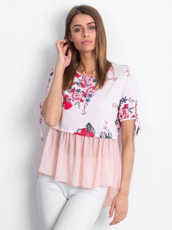 Różowa kwiatowa bluzka z szyfonowym dołem