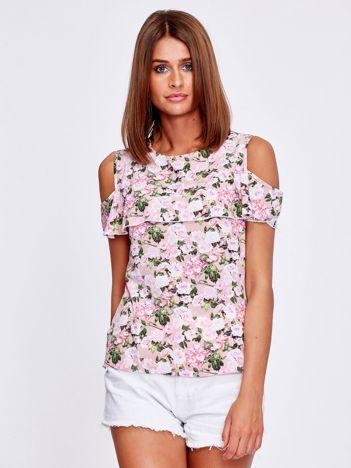 Różowa kwiatowa bluzka z wycięciami