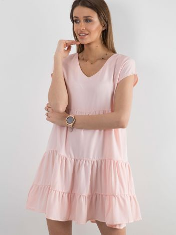 Różowa luźna sukienka damska