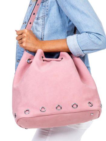 Różowa miękka torba ze ściągaczem