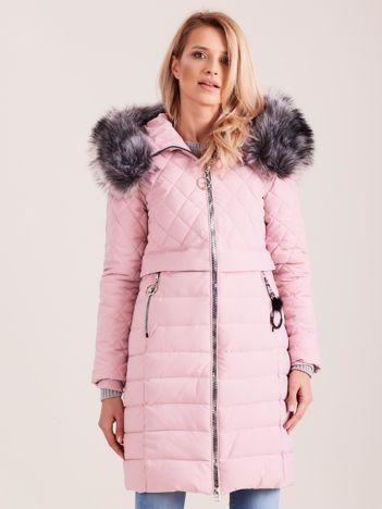 Różowa pikowana kurtka zimowa