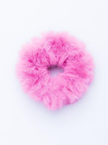 Różowa puszysta gumka do włosów